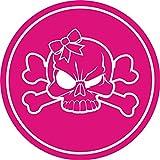 Aufkleber Totenkopf mit Schleife girly I kfz_008 I Ø 4 cm I Skull Sticker für Motorrad-Helm Roller Fahrrad Laptop Handy Auto-Aufkleber pink wetterfest