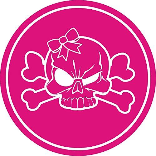 easydruck24de Aufkleber Totenkopf mit Schleife Girly I kfz_512 I Ø 4 cm I Skull Sticker für Motorrad-Helm Roller Fahrrad Laptop Handy Auto-Aufkleber pink wetterfest -