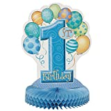 Partydekoration mit Waben und blauen Ballons, 1.Geburtstag, 35cm