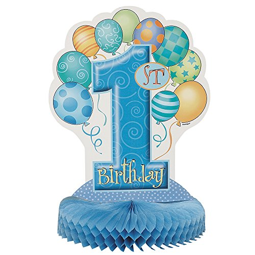 Unique Party Supplies Partydekoration mit Waben und blauen Ballons, 1.Geburtstag, 35cm