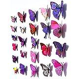 Goodlucky365 24 Piezas 3D Pegatinas de Mariposa Pegatinas de Pared Adhesivo Decoración para Casa, Hogar, Púrpura