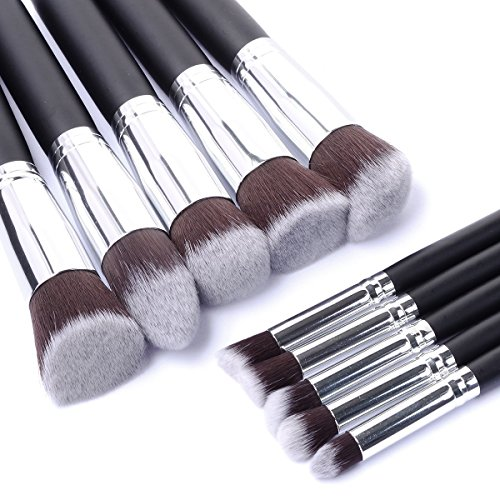 Royalvirgin 10 pcs Lot de pinceaux de maquillage professionnel haute qualité Maquillage outils kit Premium Full Fonction