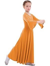 83f5f5d8d IWEMEK Niñas Vestido adoración Danza Vestido de Alabanza Iglesia Litúrgico  Disfraces de Baile para Chicas Manga
