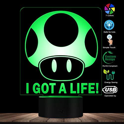 Videojuego moderno Brothers I Got A Life 3D Ilusión óptica Luz Decoración para el hogar Juego de aventura LED Lámpara de mesa de luz nocturna Lámpara visual: Amazon.es: Iluminación