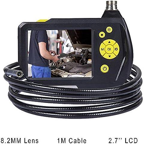 Flylinktech 8.2MM Endoscopio de Manual Impermeable Digital Boroscopio de Inspección Cámara con Monitor Pantalla de 2,7 Pulgadas y Cable de 1