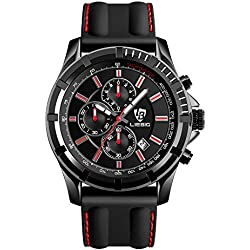 LIEBIG Fashion Quartz Watch SX161015 Large Face Military Style Waterproof Sport Stopwatch Auto Date - Red