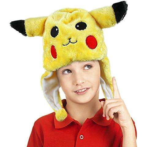 Pokemon peluche cappello aviatore Cartoon Animal Cappuccio Berretto Beanie Cappello invernale Cappello per adulti e bambini Halloween cosplay costume accessori, Pikachu