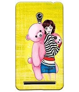 Fuson Teddy Girl Back Case Cover for ASUS ZENFONE 6 - D4039