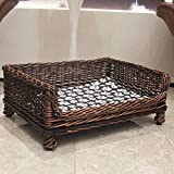 X&MX Wicker Dog Bed, Waterproof Durable Rattan Elevated Pet Bed,Kennel Dog Bed Rattan Pet Nest Four Seasons Universal,XL