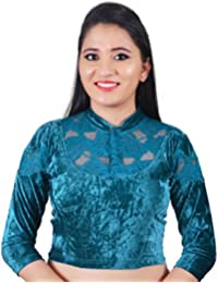 BigMart99 Velvet Chinese Collar 3 4th Sleeve Lycra Stretchable Readymade Blouse For Women