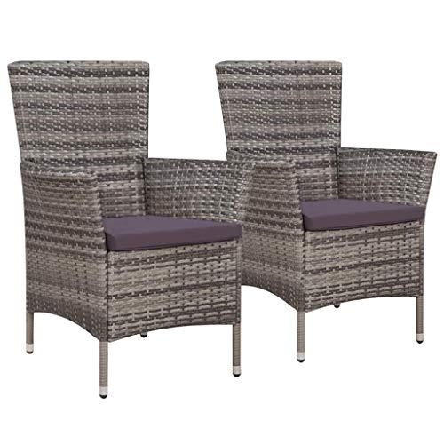 Festnight- Garten-Esstischstühle 2 STK. Gartenstühle aus Polyrattan | Garten Rattanstuhl |...