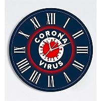 Koronavirüs Önlem Uyarı Panosu Saat-45 x 45 Cm