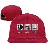 Huseki VYily Smoke Meth Eat Sleep Hail Satan Baseball Caps For Men/Women Black Red