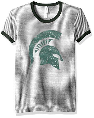 Blau 84NCAA Michigan State Spartans Damen Tri Blend Retro Streifen Ringer Shirt, Klein, Wald