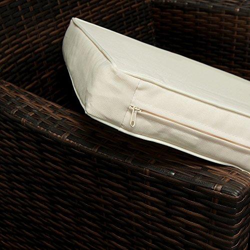 Deuba Poly Rattan Sitzgruppe 8+1 braun | 7cm dicke Sitzauflagen | Tischplatte aus Akazienholz | wetterbeständiges Polyrattan [ Modellauswahl 4+1/6+1/8+1 ] - Gartenmöbel Gartenset Sitzgarnitur Set - 3