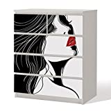 Möbelfolie -- Erdbeermund -- Dekorfolie für Schränke & Tische -- Erotik Klebefolie Möbel Aufkleber Tattoo