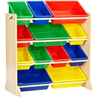 Preisvergleich für KidKraft 16774 Sort It & Store It Ordnungssystem Regal aus Holz mit 12 Kisten - Aufbewahrungsboxen für Kinder-Spielzeug in primär- & naturfarben - Kinderzimmer Möbel