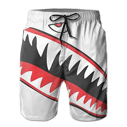 Qfunny Shark Mouth Eyes Men's Quick Dry Beach Board Shorts Summer Swim Trunks for Father's Day for Boy Swimming Herrenshorts am Strand