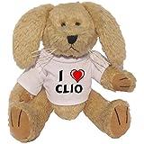 Conejito de peluche (juguete) con Amo Clio en la camiseta (nombre de pila/apellido/apodo)