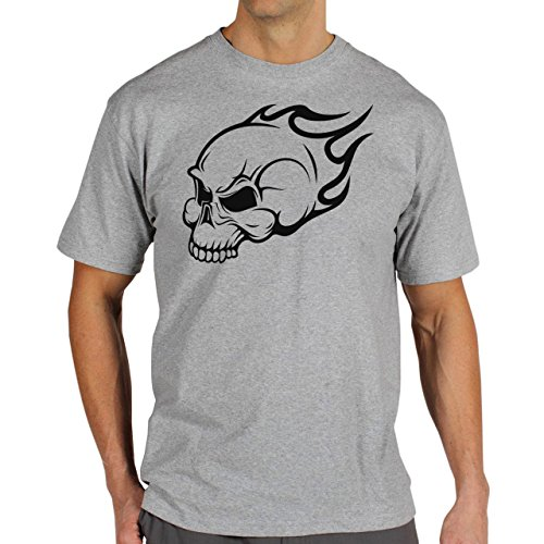 Skull Black Devil Background Herren T-Shirt Grau