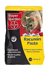 Bayer Garden Racumin Pasta - Raticida en pasta de alta eficiencia contra ratas en interiores y exteriores. Incluye 20 unidades de 10g