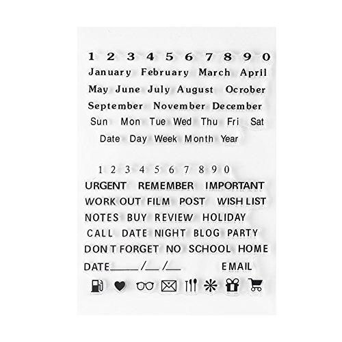 Transparent Klar Silikon Briefmarken Alphabet Buchstaben Zahlen PVC Planer Stempel Scrapbooking Karte Tagebuch Album(Y37 - Jahr Monat Tag)