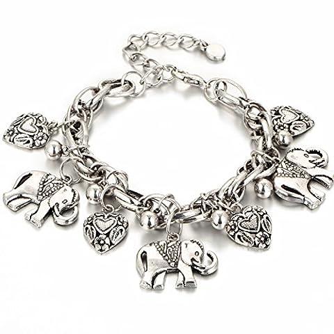Mode Rétro Bijoux Elephant Bracelet WenL Femmes Charm Bracelet Coeur Peach-Argent Bronze,Silver