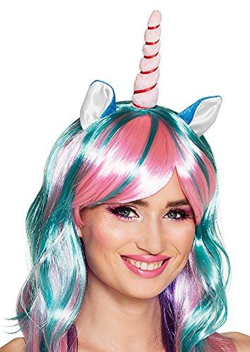 Halloweenia - Langhaar Regenbogen Perücke Einhorn Unicorn Kostüm Einhornkostüm Horn und Ohren Einhornperücke Perrücke, Mehrfarbig (Sexy Nerd Girl Kostüme)