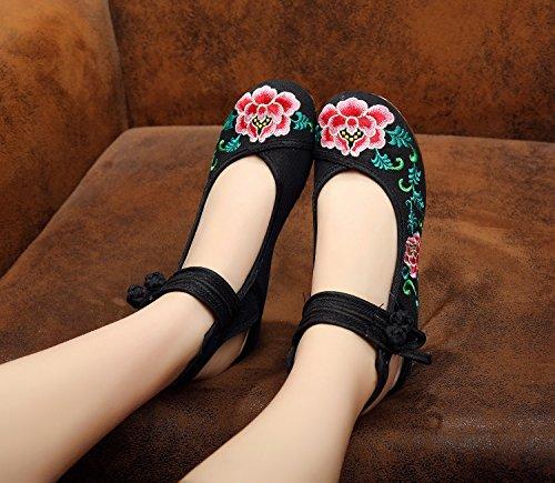 &hua Chaussures brodées, lin, semelle de tendon, style ethnique, chaussures féminines, mode, confortable, sandales Black