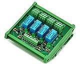 ELECTRONICS-SALON DIN Rail Mount 4 DPDT Signal Relay Interface Module, DC12V Version.