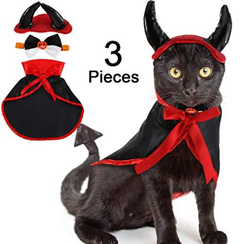 3 Pezzi Mantello di Gatto di Halloween Costume di Halloween Gatto, Mantello da Vampiro per Animali Domestici con Il Corno del Diavolo e Cravatta di Gatto per Il Costume da Compagnia di Halloween