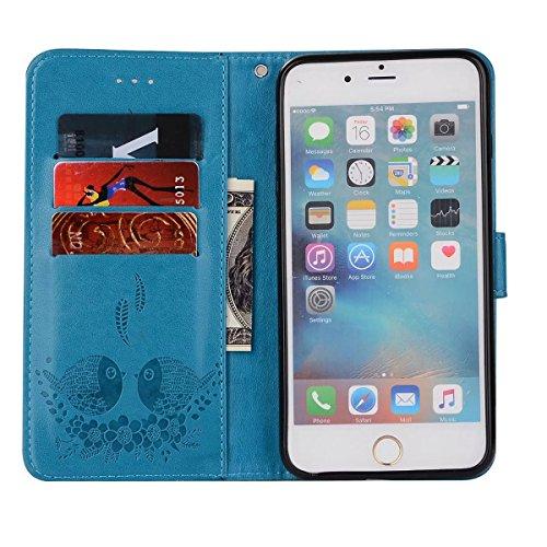 EKINHUI Case Cover Embossing Bird Pattern PU Ledertasche mit abnehmbarem Back Cover, Flip Stand Wllet Tasche mit Lanyard & Card Slots für iPhone 6 Plus & 6s Plus ( Color : Purple ) Blue