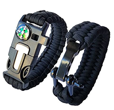 Ibex Paracord Survival Bracelet Pack of 2 Stainless Steel Bow Shackle Compass Flint Fire Starter Whistle Buckle Black