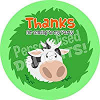 Personalised Delights Farmer Cow Sticker Labels (24 Stickers, 4.5cm Each) NON PERSONALISED Seals Ideal for Party Bags, Sweet Cones, Favours, Jars, Presentations Gift Boxes, Bottles, Crafts