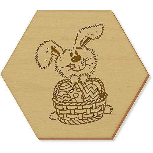 Azeeda 6 x 'Coniglietto di Pasqua' 95mm Sottobicchiere di Legno Esagonale (CR00142231)