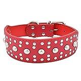 Generisches Hundehalsband aus PU Leder für Größe Hunde mit Mushroom Rivet Stachel (XXXL, Rot Echtleder)