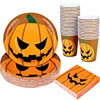 Aneco 122 Pieces Halloween Party Supplies Disposable Dinnerware Set Disposable Paper Plate Cup Napkin Set for Halloween Party (Serves 36 Guests)