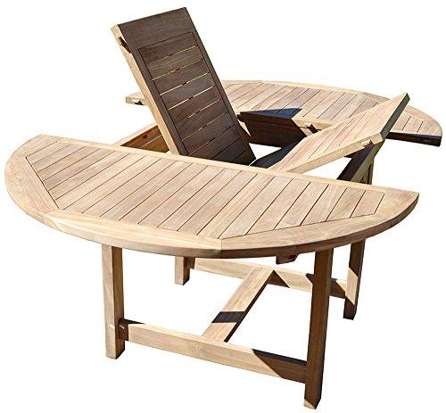 PEGANE Table de Jardin Ronde et Extensible en Bois Teck - Dim : 120/170 x 120 cm