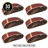 Lot de 30 bandes abrasives en tissu 75 x 457 mm grain 6 x 40/60/80/120/180 pour ponceuse à bande abrasive