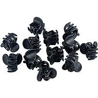 CINEEN 12Pcs Garra de Pelo Negro Plástico Mini horquilla 6 garras del pelo Pinza Abrazadera para las mujeres