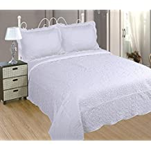 ForenTex - Colcha bouti, (BL-2626), cama 150 cm, 240 x 260cm, + 2 fundas cojines, Blanca, Bordada en relieve, set de cama, ropa de cama. Por cada 2 colchas o mantas paga solo un envío (o colcha y manta), descuento equivalente antes de finalizar la compra.