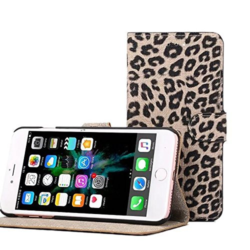 JIALUN-Telefon Fall für iPhone 7 Plus, Leopard Texture Magnetische Schnalle Horzontal Flip Stand Case Cover mit Card Slots ( Color : Gray ) White