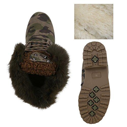 Warm Gefütterte Worker Boots Damen Outdoor Stiefeletten Bequem Camouflage Gefuttert