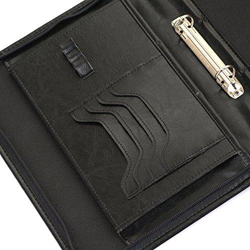 Solier pelle Organizzatore cartelle conferenza portafoglio valigetta ventiquattrore ST03 Nero