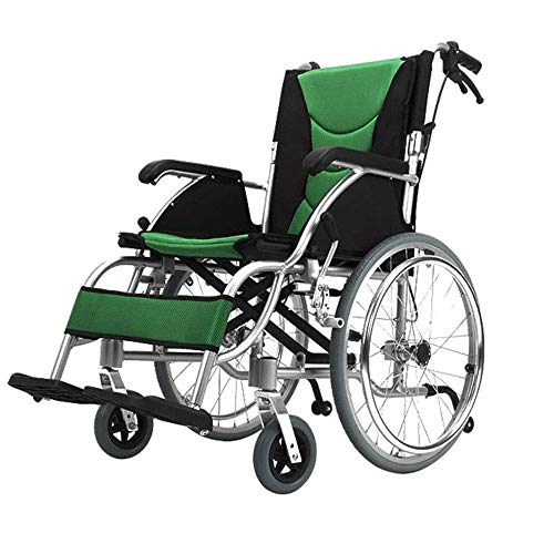 KOSHSH Travel Rollstühle, Deluxe Faltgewicht Wagen mit Handbremse, No-Rutsch-Aluminium-Mobilitäts-Pflegemittel Red Blare Universalwheel Maximum Gewicht 120 kg,20inch