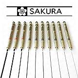 Pigma Micron Sakura & Graphic pennarellini a punta fine, inchiostro nero, confezione da 10 [mm] 3,0 0,05 mm