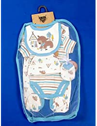 2d7a9422ae4 5 piezas bebé niños niñas unisex ajuar Outfit Set Body Pelele para niño  gorro manoplas babero
