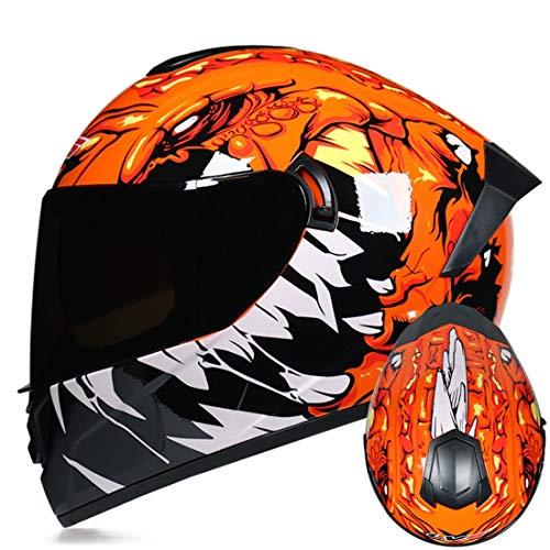Motorradhelm Integral Klapp Helm Cross Downhill Fullface Erwachsene Sturzhelm Scooter Universal für Männer und Frauen Elektrischer Fahrradhelm,Blacklens,L