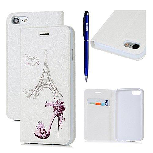 iPhone 7 Hülle, Yokata PU Lederhülle Flip Case mit High Heels Motif Kartenfach Brieftasche Magnet Cover + 1*Stylus Pen - (Hello Schuhe High Kitty Heels)