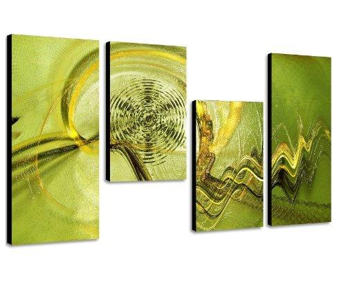 Augenblicke Wandbilder Grüne Oase – 130x70cm 4 teiliges Keilrahmenbild Kunstdruck (30×70+30×50+30×50+30x70cm) abstraktes Wandbild mehrteilig Gemälde-Stil handgemalte Optik Vintage